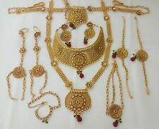 Indian Fashion Jewelry Bridal Necklace long har Bollywood ethnic Gold plated set