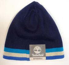 Timberland Signature Reversible Blue Knit Beanie Skull Cap Adult One Size NWT