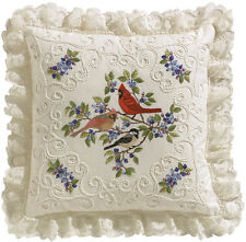"""Birds And Berries Candlewicking Embroidery Kit-14""""X14"""" Stitched In Thread"""