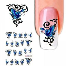 J266 NAGELSTICKER TRIBAL Schmetterling blau water transfer Fingernagel Nagel Nai