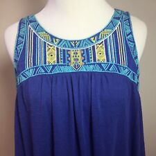 Cato Blue Sleeveless Embroidered Mexican Style Festival Boho Top Medium