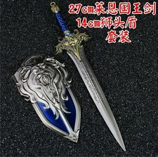 WORLD OF WARCRAFT WOW Lane The King SWORD Weapon Keychain KEYRING Shield Set