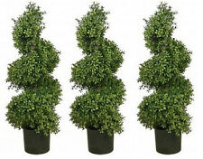 """3 ARTIFICIAL WIDE 36"""" BOXWOOD IN OUTDOOR TOPIARY TREE PLANT ARRANGEMENT SPIRAL"""