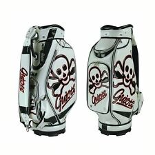"NEW GUIOTE GOLF PREMIUM CADDIE STAFF CART BAG SKULL CROSSBONE 10"" TOP w/RAINHOOD"