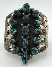 c. 1960 Navajo Turquoise Nugget and Silver Bracelet, size 6.5
