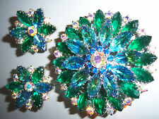 GORGEOUS JULIANA BLUE & GREEN AB RHINESTONE BROOCH PIN EARRING SET DEMI PARURE