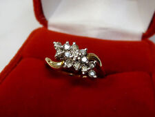 Natural Real 1/2 CTW Diamond Cluster Ring Solid 14k Yellow Gold Sz 6.5