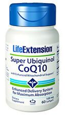 Life Extension Super Ubiquinol CoQ10 Enhanced Mitochondrial Support 100mg -60 Sg