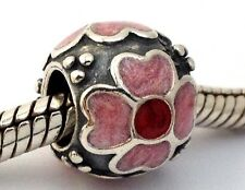 Authentic Pandora Daisy Red Pink Enamel Sterling Silver Bead Charm 790433ER New