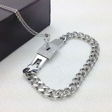 Steel Bangle Bracelet and  Key Pendant Necklace Sets Love Gifts  Couple Titanium