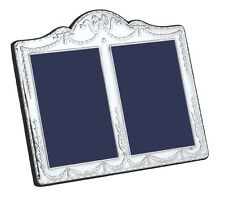 SOLID SILVER DOUBLE PHOTO / PHOTOGRAPH FRAME (Swag & Bow) By Carrs