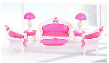 Free shipping 7Pcs Toys Barbie Doll Sofa Chair Couch Desk Lamp Furniture Set 25