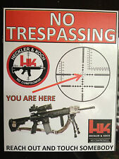 GUN STICKER `NO TRESPASSING, HECKLER & KOCH SNIPER  RIFLES WARNING STICKER