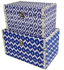 X2 Retro Blue White Moroccan Pattern Storage Chest Trunk Boxes Faux Leather NEW