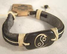 NEW LEATHER BONE CARVED YIN YANG BRACELET jewelry fashion hippie men womens YING