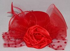 Red Hat Society Hat Fascinator with Alligator Clips Red Net Rose Flower Feathers