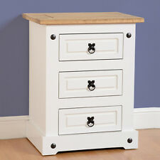 Corona 3 Drawer Bedside Chest Painted White
