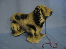 Vintage Toy Dog Spaniel Walking Pull Toy Composition 1940's Noma Wood SALE