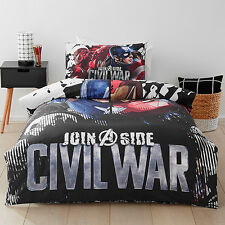 MARVEL CIVIL WAR CAPTAIN AMERICA AVENGERS QUEEN bed QUILT DOONA COVER SET NEW