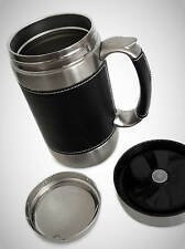 Thermal Stainless Steel Vacuum Insulating Mug with Leather Trim/ 520ML