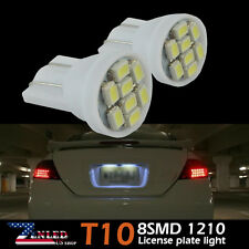 2pcs License Plate Tag Lights 168 158 920 W5W 192 2825 T10 8SMD LED Bulbs White