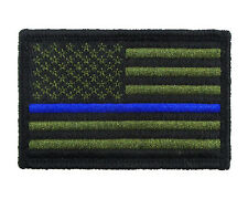 Police US Flag Thin Blue Line Tactical Hook & Loop Morale Tags Patch American GB