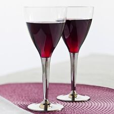 Sabert 100 Disposable Plastic Wine Glasses With Silver Stem High Quality