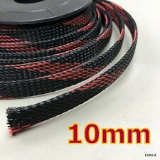 10mm Black/Red Expandable Braided Cable Sleeving Wire Protection Net x10M #UKgtc
