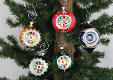 Colorful Hand Decorated Glass Indent 5pc Christmas Ornaments by Bradford