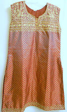 Sequined Ethnic Indian Evening Tunic Dress Red Metallic Gold Sz: M  L  XL ?  New