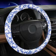 "2015 New BLUE 38CM 15"" Universal Classic Flower Rubber Car Steering Wheel Cover"
