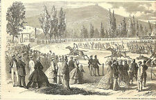 TOULON INAUGURATION DU CHAMP DE COURSES GRAVURE ILLUSTRATION 1863