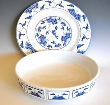 "Tatung Taiwan Porcelain Blue and White Serving Dish and 10 7/8"" Platter Plat"