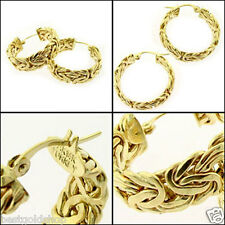 "1"" All Shiny Round Byzantine Hoop Earrings Real 10K Yellow Gold 4.80gr"