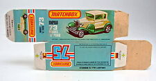 "Matchbox Superfast 73C Ford Model ""A"" leere originale ""L"" Box kleine Mängel"
