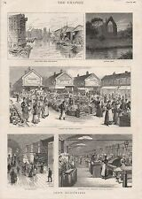 1885 LEEDS ILLUSTRATED RIVER AIRE BOLTON ABBEY FISH MARKET MARSHALLS MILL