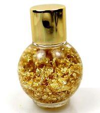 24k Genuine Gold Flakes Floating Brazilian Glass Bottle Display 45x30mm