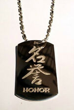 Chinese Calligraphy Character Honor Symbol - Dog Tag w/ Metal Chain Necklace