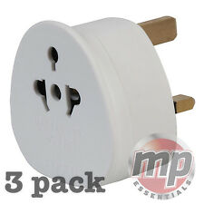 3 Pack Eurosonic USA EU AU Worldwide & European to UK Travel Adaptor Mains Plug