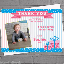 Personalised Girls Photo Pink Blue Present Thank You Message Cards x 12 H0491