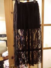Black mini with long lace overskirt and stretchy waist 21 - 28 ins waist