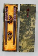 Nuovo 2 Paia Cinese Fatto A Mano Di Legno Vintage Bacchette E Staffe Set Regalo