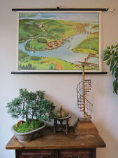 WONDERFUL VINTAGE PULL DOWN SCHOOL  WALL CHART/ MURAL OF  A RIVER 1965