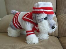 Dog apparel- Sailor Jacket White Red Coat w/ Hat -Super cute size XS own design