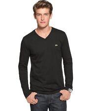 Authentic  Lacoste  Men's 100% Cotton Pima Vneck Long Sleeve Tee  T-Shirt Shirts