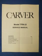 CARVER TFM-22 AMP SERVICE MANUAL ORIGINAL FACTORY ISSUE THE REAL THING