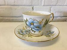 Vtg Shore & Coggins Queen Anne England Porcelain Cup & Saucer Floral Decoration