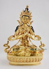 "Gold Gilded Hand Carved Face Painted 8.75"" Vajradhara Copper Statue from Patan"