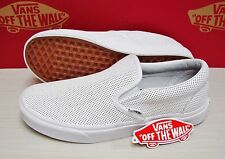 Vans Classic Slip On Perf Leather White Men's Size 13