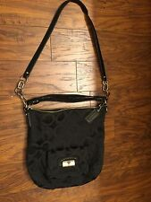 COACH H1082-14763 Black Signature Cross Body Tote Handbag Purse